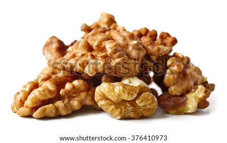 Walnut kernels, isolated on white