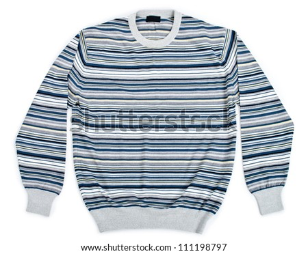 warm striped sweater on a white background