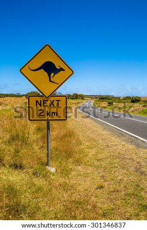 Warning sign for kangaroo crossing on Austalian country road.