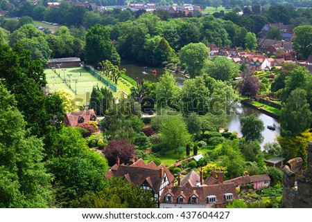 WARRICK CASTLE, WARRICK, UK - JUNE 5,2016: View of Warrick from the Castle. Warwick Castle is a medieval castle developed from an original built by William the Conqueror in 1068.