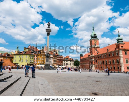 Warsaw, Poland - 3 June 2016 - Old Town Square in Warsaw, Poland, on a beautiful sunny day with people visiting.