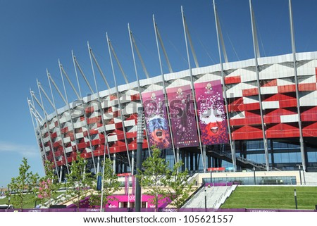 WARSAW, POLAND - JUNE 16: Warsaw National Stadium in Warsaw, Poland on June 16, 2012. The National Stadium will host the UEFA Euro 2012.