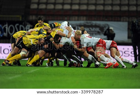 WARSAW, POLAND-NOVEMBER 14,  2015: Inernational Friendly  rugby game Poland - Moldova Europe Rugby Cup