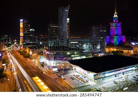Warsaw, Poland, on May 23, 2015. View of the city center at night