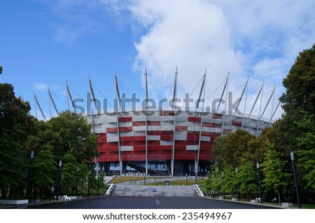 Warsaw, Poland- September 1, 2013: The entrance of Warsaw National Stadium in Warsaw, Poland  on September 1, 2013. The stadium was constructed in 2011 to meet euro 2012 football championship.