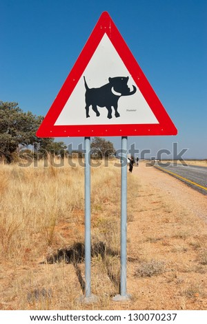 Warthog road sign in Namibia, animals of South Africa