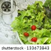 wash lettuce salad before eating - stock photo
