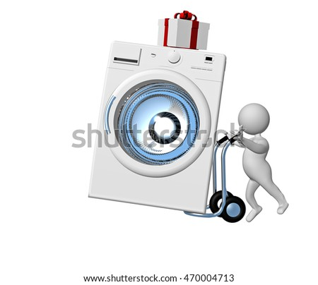 wash machine, gift, trolley, white character, 3d rendering