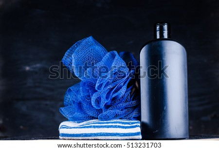washcloth, towel and gel
