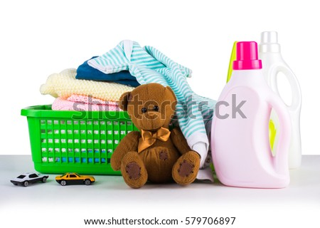 White Plastic Bottle Detergent Pile Clean Stock