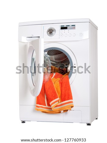 washing machine with a bright, colored wash laundry. isolate