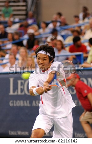 WASHINGTON - AUGUST 2: Tatsuma Ito (JPN) is defeated by James Blake (USA) at the Legg Mason Tennis Classic on August 2, 2011 in Washington.