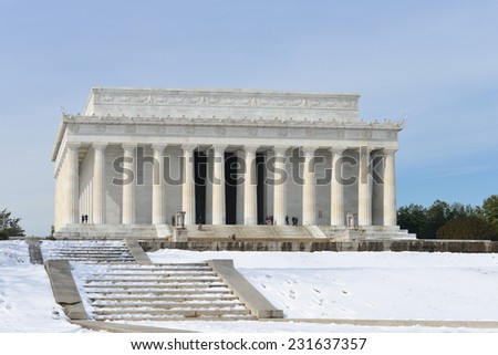 Washington DC, Abraham Lincoln Memorial in snow -  United States