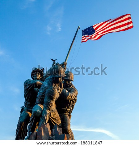WASHINGTON, DC - APRIL 10: Iwo Jima Memorial in Washington, DC on April 10, 2014. The Memorial honors the Marines who have died defending the US since 1775.