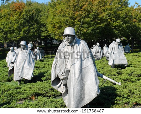 WASHINGTON DC - OCT 9: Korean War Memorial in Washington DC on October 9, 2011. The Korean War Memorial represents a squad on patrol in a war between South Korea and North Korea.