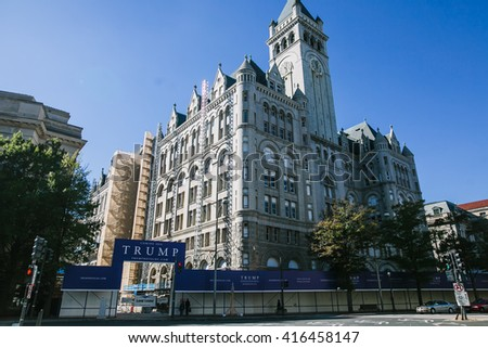 WASHINGTON, DC - OCTOBER 19, 2015- The new Trump hotel in the Old Post Office on Pennsylvania Avenue is expected to open in 2016. Trump is running for nominee of the Republican party in the primaries.