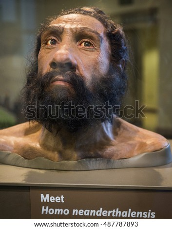 WASHINGTON DC, USA - AUGUST 30: Mask representing the face of a caveman know as Homo Neanderthalensis who live thousands of years ago in a public exhibition in Washington DC on August 30, 2016.