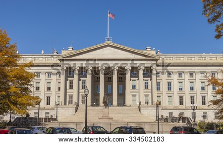 WASHINGTON, DC USA - NOVEMBER 9, 2011: United States Treasury building.
