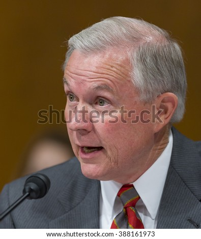 WASHINGTON, DC, USA - SEPTEMBER 13, 2005: U.S. Senator Jeff Sessions (R-AL) during confirmation hearings for U.S.  Supreme Court nominee John Roberts.