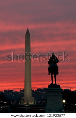Washington Monument Sunset Vertical With Copy Space