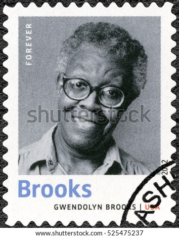 WASHINGTON, UNITED STATES OF AMERICA - APRIL 21, 2012: A stamp printed in USA shows Gwendolyn Elizabeth Brooks (1917-2000), American poet, author, and teacher, series Nobel Laureate in Literature.