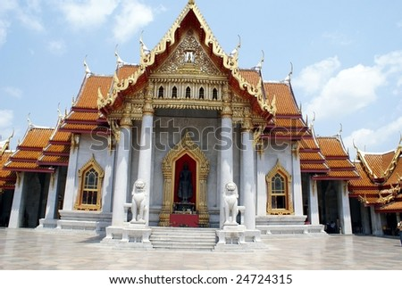 Wat Benchamabophit or Marble Temple. Magnificent monastery built with white Italian marble. Tourist's attraction in Bangkok, Thailand, Asia