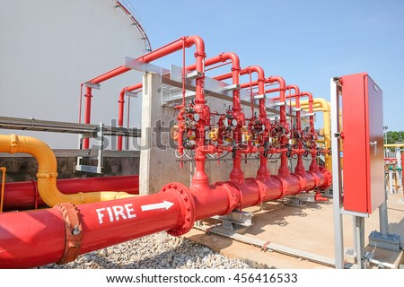 Water Foam Line Fire Protection System Stock Photo