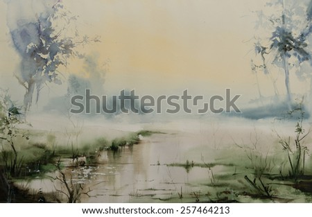 Water color painted swamp with a bit of fogg during a col morning
