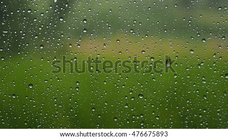 Water Drop On Glass Green Background