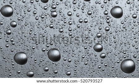 water droplets on metal,  background, stell