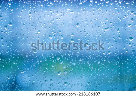 water drops on blue glass