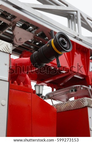Water Hoses In Fire Truck   Big Red Russian Fire Fighting Vehicle