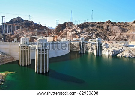 Water intake towers at Hoover dam Arizona and Nevada border, USA