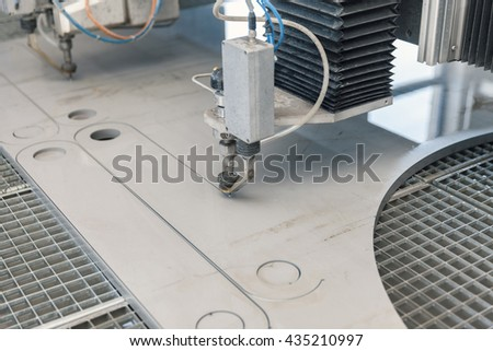 water jet cutter close up