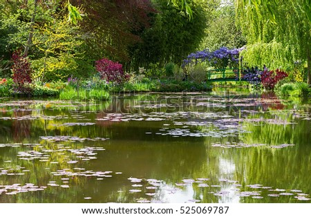 Water lily pond  in Giverny at springtime, France.