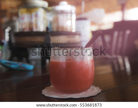 water melon smoothie on table