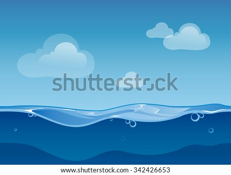 Water ocean seamless landscape sky and clouds