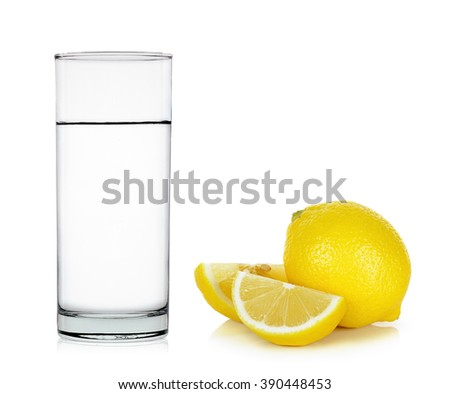 Water of glass with lemon isolated on the white background