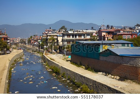 Water pollution of Bagmati River in Kathmandu, Nepal. Pollution in densely populated cities of Asia. Drinking water problem in Asia. Ecological problems in big cities