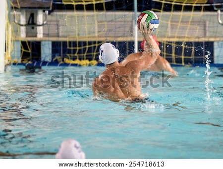 water polo players on swimming pool