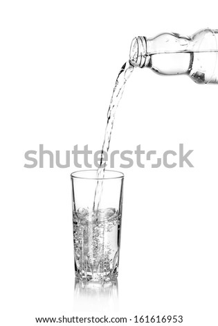 Water poured into glass, isolated on white