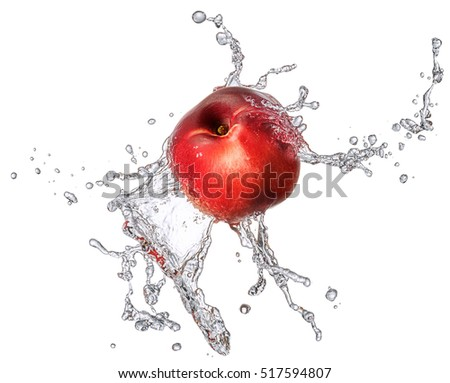 Water splash and fruits isolated on white backgroud with clipping path. Fresh nectarine