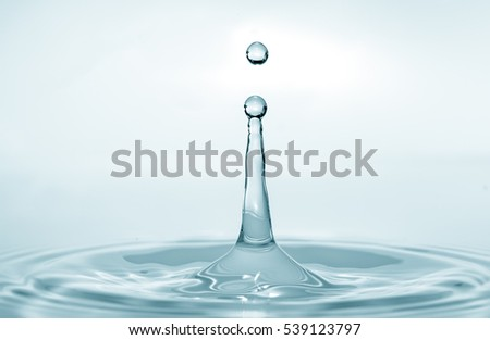 Water splash isolated on blue background. Water drop. Collision of two drops of water