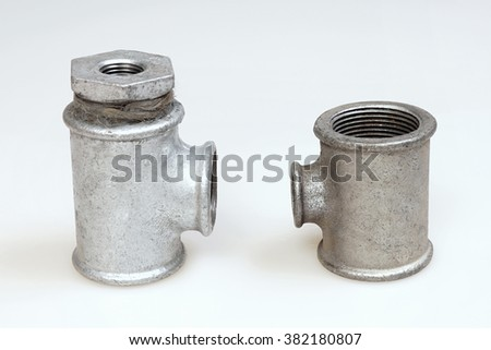 Water triple fittings on a white background.