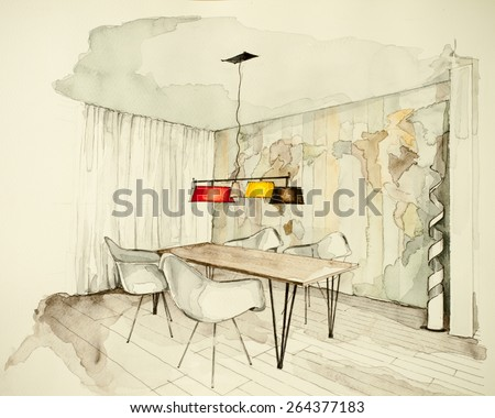 Partial watercolor floor plan illustration cozy stock for Apartment design process