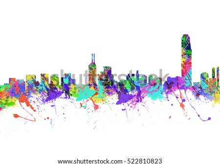 Watercolor art print of the Skyline of Hong Kong