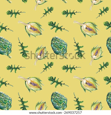 Watercolor artichoke and rucola pattern