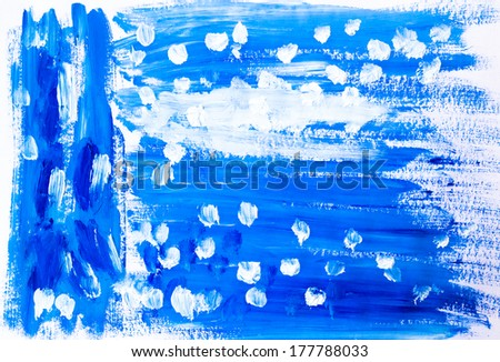 Watercolor background with blue and white spots