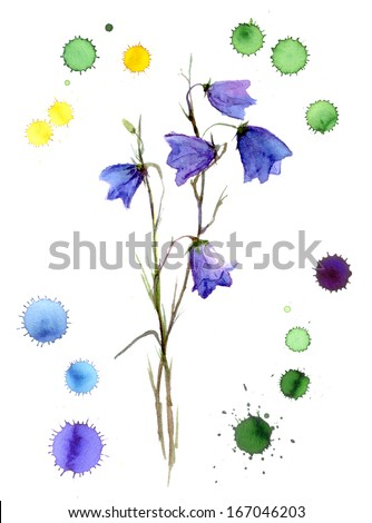 watercolor bluebell flower with graphic stains of color