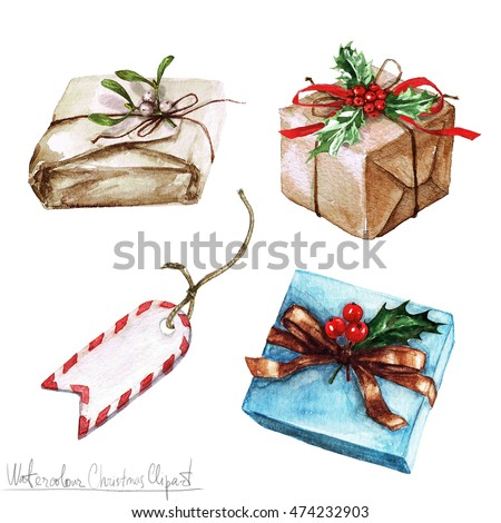 Watercolor Christmas Clipart - Gifts